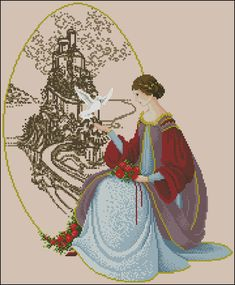"""Cross-stitch pattern """"Woman with a dove"""""""