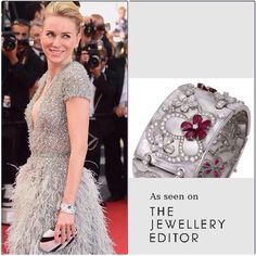 Bulgari Mother-of-pearl, diamond and ruby bracelet worn by Naomi Watts | Red Carpet Jewellery | Cannes 2015