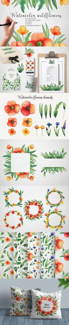 FREE ILLUSTRATIONS: Watercolor Wildflowers #design #decorative #wreath #flower #graphicdesign #decorations #DecorativeGraphics #flower #free #graphic #illustrations #freedesign #watercolor #pattern #elements #wildflower Floral Wreath Watercolor, Watercolor Design, Watercolor Illustration, Watercolor Pattern, Flower Illustrations, Free Illustrations, Vintage Wreath, Easter Wreaths, Home Wall Art