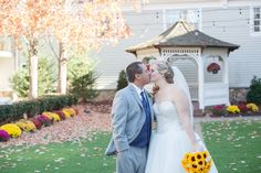 The courtyard is gorgeous in the fall! (Tina Elizabeth Photography) #Wedding #WeddingVenue #NJWeddings #FallWedding #Sunflowers #Rustic