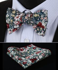 BMF201G Green Burgundy Floral 100% SILK MEN BUTTERFLY SELF TIE BOW TIE POCKET SQUARE SET