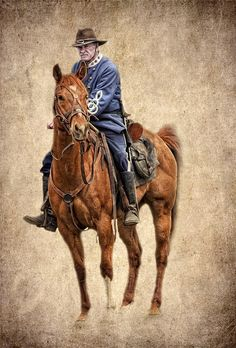 Confederate officer on horse at a Civil War Reenactment, by Bob Jensen