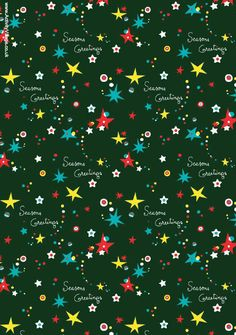 Christmas Scrapbook paper with dark green background, bright coloured modern stars and Seasons Greetings
