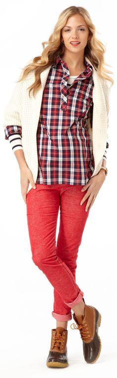 Plaid shirt and skinny cord