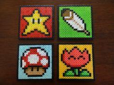 Perler Bead Coasters - Super Mario World Power-Ups. $14.00, via Etsy.