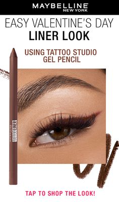 Complete your Valentine's Day look with a soft, simple cat eye using the Maybelline Tattoo Studio Gel Pencil in 'smooth walnut'. This waterproof gel pencil effortlessly glides on, lasts for up to 36 hours with no smudging and no fading. Tap to shop now! Eye Makeup Tips, Makeup Dupes, Eyebrow Makeup, Skin Makeup, Makeup Inspo, Makeup Cosmetics, Beauty Makeup, Eyeliner, Beauty Skin
