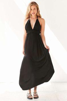 Ecote Gauzy Plunging Halter Maxi Dress