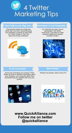 #Twitter Marketing Tips #INFOGRAPHICS http://www.quickalliance.com/4-twitter-marketing-tips/