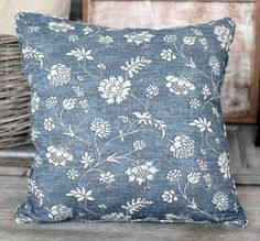 Floral Blue Cushion - - Hicks and Hicks Pink Cushions, Dusty Pink, Throw Pillows, Interior, Floral, Lavender, Feminine, House, Women's