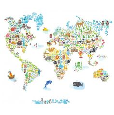 Pop & Lolli Fabric Wall Decals - Iconic Extra Large World Map - Nursery - Shop By Room