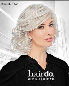 Bombshell Bob by Hairdo is an above the collar cut of gently tousled allowing for great movement. List Price: $153.00 | Our Price:$118.99 | FREE US Shipping | Color Shown: R56/60, Silver Mist | Capsize: Average | Cap Construction: Open Cap | Fiber: Synthetic Heat Friendly Wig Styles, Curly Hair Styles, Silver Mist, Jon Renau, 100 Human Hair Wigs, Raquel Welch, Synthetic Wigs, Bombshells, The Ordinary