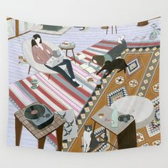 Sisters Room Wall Tapestry. #animals #illustration #people #childrens