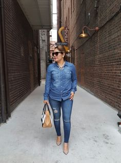 Denim on Denim for Spring  Bongo denim top fr @sears @searsstyle  MNG jeans fr @jcpenney  Candies nude pumps fr @kohls #springfashion #denimondenim