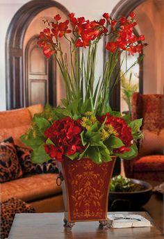 Rosso Silk Freesia Arrangement