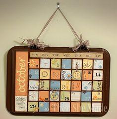 Another cookie sheet calendar. Like it better with the cookie sheet painted. Cookie Sheet Board, Cookie Sheet Crafts, Cookie Sheets, Crafts To Do, Crafts For Kids, Paper Crafts, Tree Crafts, Diy Calendar, Magnetic Calendar