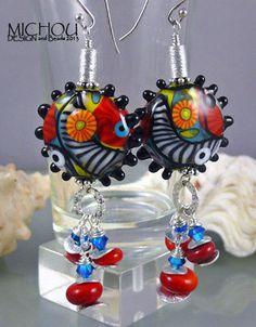 Hiding Zebra Art Glass lampwork Earrings by by MichouJewelry, $117.00
