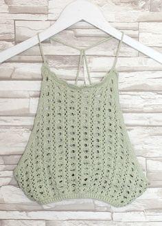 Remi Crochet Knit Crop Top (Sea Mint) - Thumbnail 11
