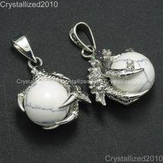 Natural Gemstone Dragon Claw Ball Reiki Chakra Healing Pendant Necklaces Beads