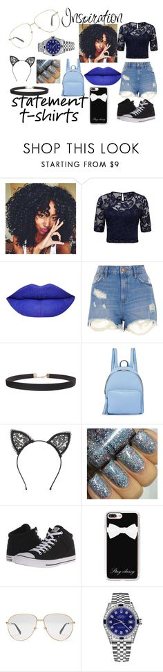 """Statement of T-shirts"" by bowkam on Polyvore featuring River Island, Humble Chic, KC Jagger, Fleur du Mal, Converse, Casetify, Gucci and Rolex"