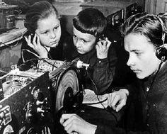 Russian children listen to radio signals