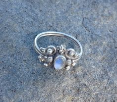 Moonstone vintage ring, sterling silver, moonstone ring