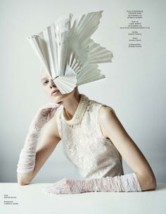 Saara Sihvonen in the current Winter issue of Tush Magazine. Photos by Sayaka. Paper Fashion, Fashion Art, Editorial Fashion, Origami Fashion, Magazine Editorial, High Fashion Photography, Editorial Photography, Lifestyle Photography, Origami Hat