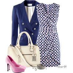A fashion look from March 2013 featuring wrap around dress, blazers jersey and high heel pumps. Browse and shop related looks.