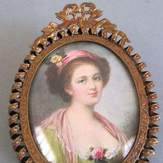 Antique Miniature Gilt Brass Portrait Frame Bow Crown Coiled Trim Domed Glass | eBay