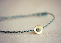 Custom Mixed Thread Braided Bracelet with 8mm Brass Coin