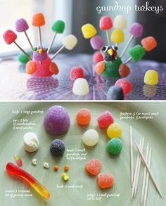 Gumdrop Turkeys / 23 Clever Crafts To Keep The Kids Busy On Thanksgiving (via BuzzFeed)