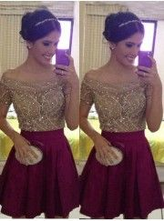 Romantic Short Prom Dress/Homecoming Dress - Burgundy Off the Shoulder with Short Sleeves