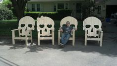 Choice of Concrete Patio Furniture - Backyard Patio Furniture Skull Decor, Skull Art, Gothic House, Gothic Mansion, Outdoor Chairs, Adirondack Chairs, Patio Chairs, Wood Furniture, Unique Furniture