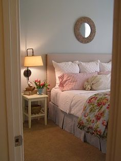 DIY Fabric headboard. Can't decide between this and the shutters at the moment but I'm leaning towards this.