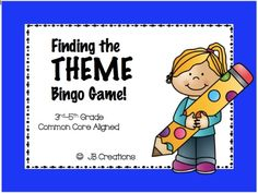 GREAT THEME REVIEW!  This is a perfect station game to review the common core standard of theme identification in literature.  12 different color bingo boards are included and will provide tons of practice and reinforcement of over 16 common themes found in student texts! http://www.teacherspayteachers.com/Product/Finding-the-Theme-Bingo-game-3rd-5th-grade-1199754