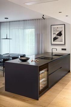 Modern Kitchen Design, Interior Design Kitchen, Kitchen Furniture, Furniture Design, Dining Room Design, White Wood, Kitchens, Woodwork, House