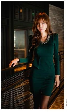 Green Simple Asian Stylish Mini Dress with Detailed Collar Design 1 Collar  Designs 4bccdc135498