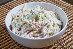 Blue Cheese coleslaw to go with buffalo chicken strips, melted leeks and celery & cucumber sticks.
