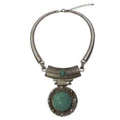 Colar étnico gargantilha com pedra, estilo boho e pedras azul turquesa | Grooveloja.com