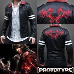 'PROTOTYPE' Alex Mercer Embroidered Action Gaming Black Faux Leather Jacket