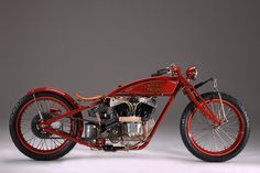 Mike Tomas of the Kiwi Indian Motorcycle Company in California restored this board track racer. The Big Chief is packing an 84 cubic inch motor.