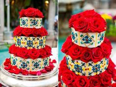 Spanish Inspired Wedding cake-- for my Mexican wedding Spanish Style Weddings, Spanish Wedding, Latin Wedding, Spanish Party, Mexican Themed Weddings, Our Wedding, Dream Wedding, Trendy Wedding, Mexican Party