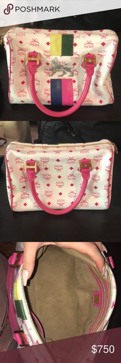 Authentic MCM bag pink white multi color MCM bag. comes with dust bag. in perfect condition. MCM Bags Totes