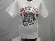 Ross Perot Original 1992 The Party's Over T-shirt Size Large White Short Sleeve Shirt - http://raise.bid/store/clothing/original-partys-sleeve/