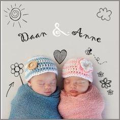 Kaartmix Geboortekaartjes tweeling baby blauw roze doodle birth announcement boy girl geboortekaartje lief geboortekaarten babykaart twins