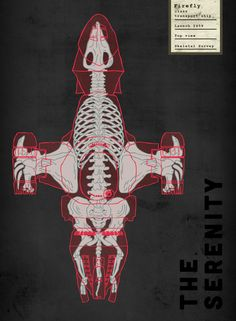 X-ray prints of popular spaceships as monsters