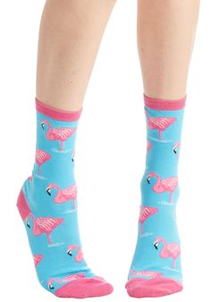 Takes Two to Flamingo Socks - Blue, Multi, Print with Animals, Darling, Bird, Knit, Casual