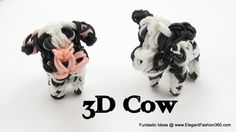 Rainbow Loom 3D COW Charm. Designed and loomed by Elegant Fashion 360. Click photo for YouTube tutorial. 06/29/14.