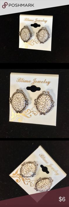 Silver accent earrings stud Silver accent earrings stud with crystals Jewelry Earrings