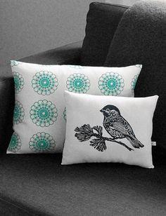 Chickadee Block Print Pillow