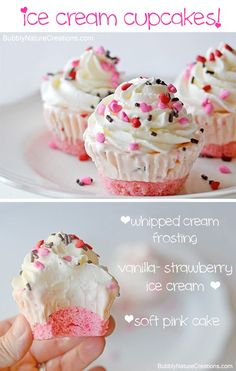 Cupcakes Ice Cream Cupcakes ~ Make these for a party and you wont have to scoop ice cream or cut cake when it comes time to serve!Ice Cream Cupcakes ~ Make these for a party and you wont have to scoop ice cream or cut cake when it comes time to serve! Frozen Desserts, Just Desserts, Frozen Treats, Baking Desserts, Party Desserts, Party Snacks, Cupcake Recipes, Cupcake Cakes, Dessert Recipes